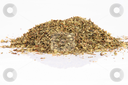 Oregano reflection stock photo, Herbs and spices heap of oregano isolated on white background with small reflection by EVANGELOS THOMAIDIS