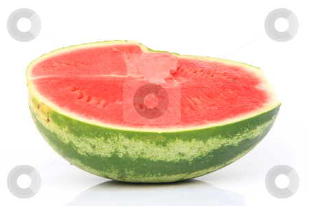 Half watermelom isolated stock photo, Half watermelon isolated on white background fruits and vegetables by EVANGELOS THOMAIDIS