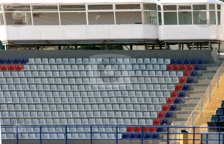Stadium empty seats  stock photo, Empty seats of local stadium and media rooms sports and journalist by EVANGELOS THOMAIDIS