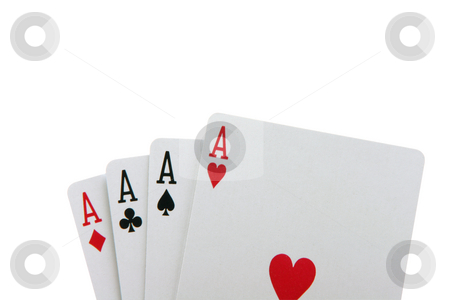 Four aces path stock photo, Four aces isolated on white background with clipping path by EVANGELOS THOMAIDIS