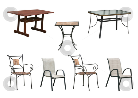Tables and chairs clipping paths stock photo, Seasonal furniture outdoor tables and chairs isolated on white background with clipping paths by EVANGELOS THOMAIDIS
