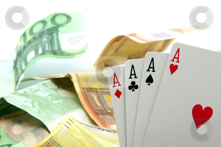 Money and aces stock photo, Gambling four aces closeup and euro banknotes background by EVANGELOS THOMAIDIS