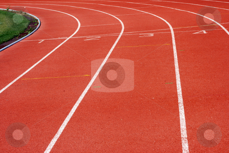 Racetrack curve stock photo, Racetrack curve and soccer field sports concepts by EVANGELOS THOMAIDIS