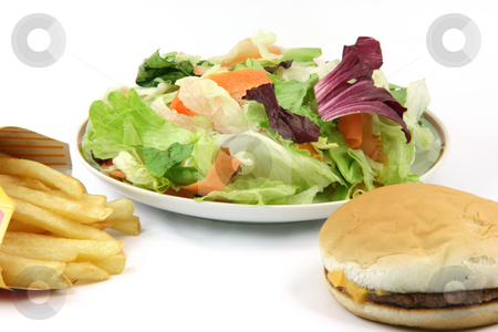 Salad plate potatos burger  stock photo, Plate of salad cheeseburger and french fries in box isolated on white backround food concepts by EVANGELOS THOMAIDIS