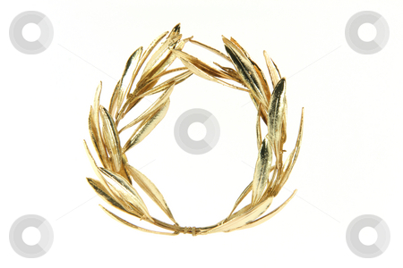 Olive gold wreath stock photo, Gold winner olive tree wreath for olympic games winners isolated on white background by EVANGELOS THOMAIDIS