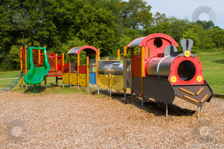 Kids Park stock photo, Small kiddy park train and slide for children to play by Jack Schiffer