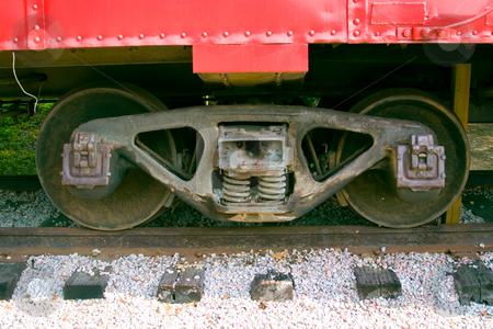 Wheels stock photo, Train wheels onsteel rail  tracks by Jack Schiffer