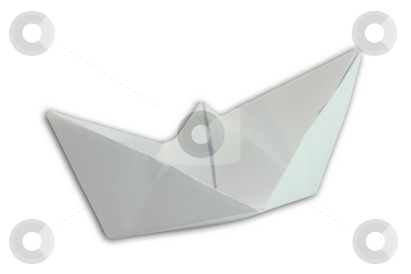 Paper boat isolated stock photo, Paper boat figure isolated on white background with clipping path by EVANGELOS THOMAIDIS