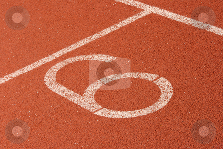 Racetrack lane six stock photo, Race track lane six detail sports concepts by EVANGELOS THOMAIDIS