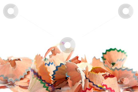 Isolated shavings stock photo, Multicolor pencils wood shavings isolated on white background education concepts with copy space by EVANGELOS THOMAIDIS