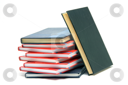 Books isolated stock photo, Stack of books isolated on white background by EVANGELOS THOMAIDIS