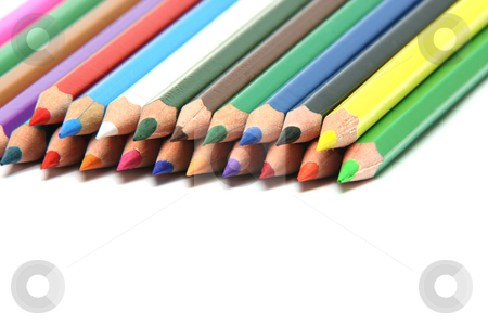 Closeup crayon stock photo, Stack of multy color pencils sharpened isolated on white backgroud with copy space closeup by EVANGELOS THOMAIDIS