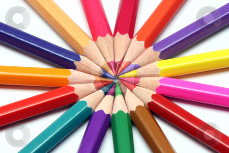 Sharp colour pencils stock photo, Pencils sharpened in a cirle color assortment on white backgroud by EVANGELOS THOMAIDIS