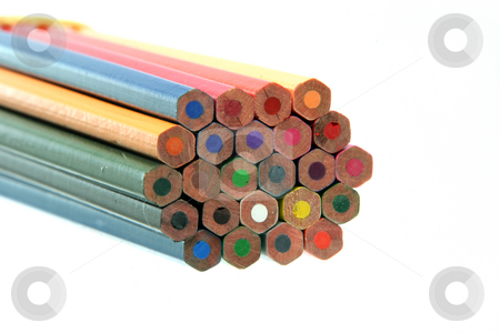 Color pencils detail  stock photo, Detail of multy color pencils isolated on white background by EVANGELOS THOMAIDIS