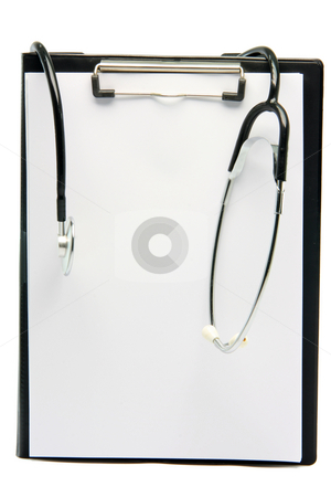 Stethoscope notepad stock photo, Stethoscope on notepad with copy space isolated on white background by EVANGELOS THOMAIDIS