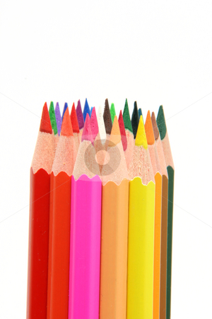 Color pencils with copy space stock photo, Isolated color pencils sharpened on white backgroud with copy space by EVANGELOS THOMAIDIS
