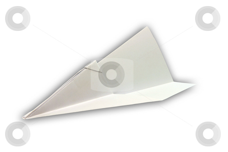 Paper pane isolated stock photo, Paper airplane figure isolated on white background with clipping path by EVANGELOS THOMAIDIS