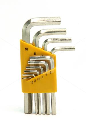 Socket wrench set stock photo, Socket screw wrench set  isolated on white background by EVANGELOS THOMAIDIS
