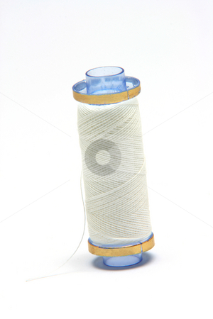 White string spool stock photo, White string spool isolated on white background sewing items by EVANGELOS THOMAIDIS