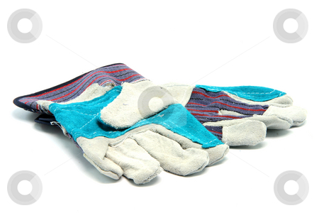 Work wear gloves stock photo, Work wear gloves isolated on white background by EVANGELOS THOMAIDIS