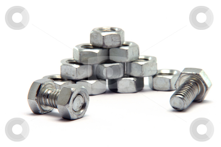 Screws bolts stack stock photo, Screws and bolts stack isolated on white background by EVANGELOS THOMAIDIS