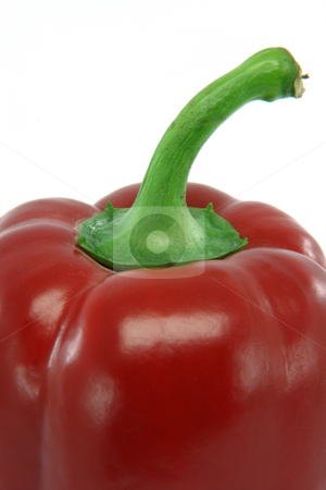 Closeup pepper stock photo, Red pepper closeup  isolated on white background food and vegetables concepts by EVANGELOS THOMAIDIS