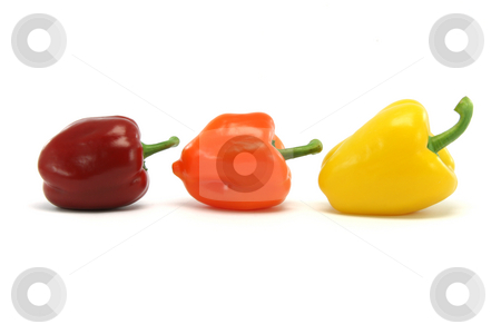 Size and color peppers stock photo, Different size and color peppers isolated on white background food and vegetables concepts by EVANGELOS THOMAIDIS