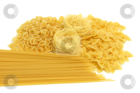 Isolated spaghetti assortment stock photo, Spaghetti assortment isolated on white background with copy space by EVANGELOS THOMAIDIS