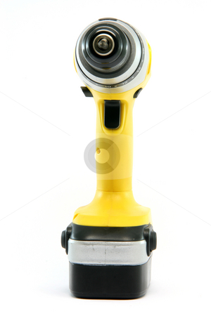 Front of drill stock photo, Front side yellow rechargeable drill isolated on white background industrial tools by EVANGELOS THOMAIDIS