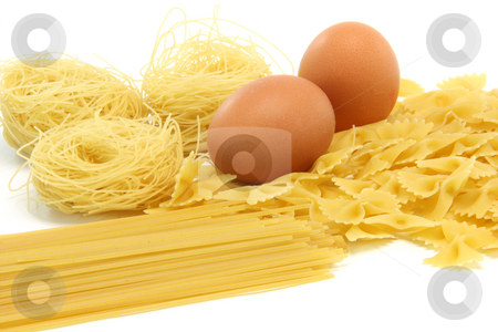 Spagheti asortment eggs stock photo, Spaghetti assortment and eggs isolated on white background food concepts by EVANGELOS THOMAIDIS