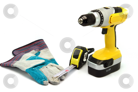 Hardware tools stock photo, Hardware tools drill gloves and meter measure isolated on white background with copy space by EVANGELOS THOMAIDIS