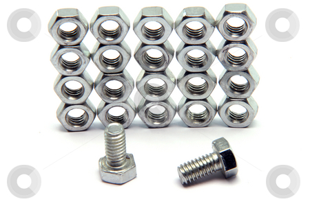 Screws bolts texture stock photo, Screws and bolts texture isolated on white background  construction industry by EVANGELOS THOMAIDIS