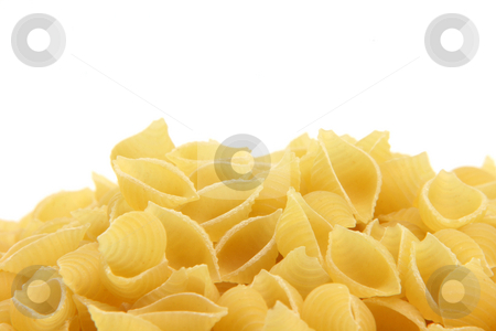 Macaroni copy space stock photo, Pasta closeup isolated on white background with copy space on the top by EVANGELOS THOMAIDIS