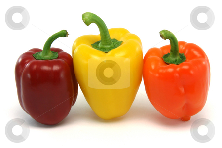 Above three peppers stock photo, Three color peppers from above isolated on white background food and vegetables concepts by EVANGELOS THOMAIDIS
