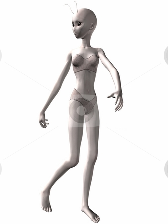 Lovely girl Alien running stock photo, 3D Render of an Lovely Alien by Andreas Meyer
