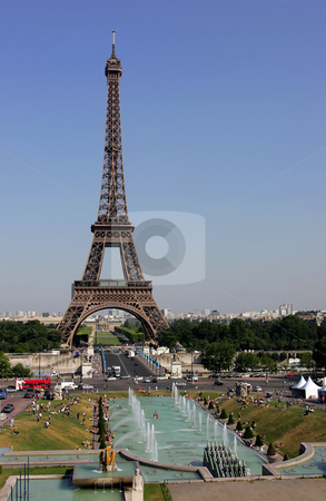 Eiffel tower in Paris stock photo, General view of exterior of Eiffel tower in Paris, France. by Martin Crowdy