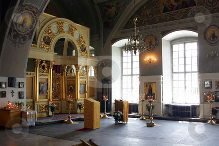 Greek Orthodox Cathedral interior stock photo, Details of interior of Greek Orthodox Cathedral. by Martin Crowdy