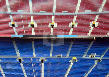 Rows of seating in stadium stock photo, Rows of seating in stadium, Nou Camp, Barcelona, Spain. by Martin Crowdy