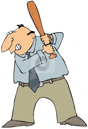 Angry Man With A Bat stock photo, This illustration depicts an angry man about to swing a baseball bat. by Dennis Cox