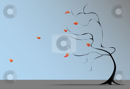 Fall Tree Wind Blows Autumn Leaves stock vector clipart, A Winter wind at the end of Autumn blows the last fall leaves from the branches of a tree on a windy day. by Michael Brown