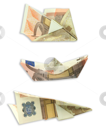 Transportation figures stock photo, Trasportation figures made of euro banknotes airplanes and boat isolated on white background with clipping path by EVANGELOS THOMAIDIS