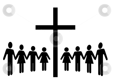Group of People Hold Hands Gather Around a Cross stock vector clipart, A Group of people hold Hands as they gather around a cross. by Michael Brown