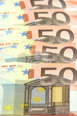 Euro texture stock photo, Fifty euro banknotes detail for background use business and finance concepts by EVANGELOS THOMAIDIS