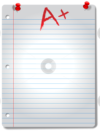 Wide Ruled Notebook Paper Pages Tacks & Grade stock vector clipart, Page of wide ruled notebook paper, red tacks and A+ grade,  highlighted by a spotlight, with a drop shadow. by Michael Brown