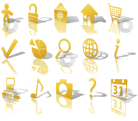 Web Gold Button Icons Set 1 Shadow Reflect Angled stock vector clipart, Gold Angled Icon Symbol Set: Globe Security Question Email People, etc. On white with shadows & reflections. by Michael Brown
