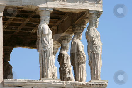 Porch of maidens and sky stock photo, Caryatids and blue sky  at temple of Erechtheum on acropolis of Athens Greece by EVANGELOS THOMAIDIS