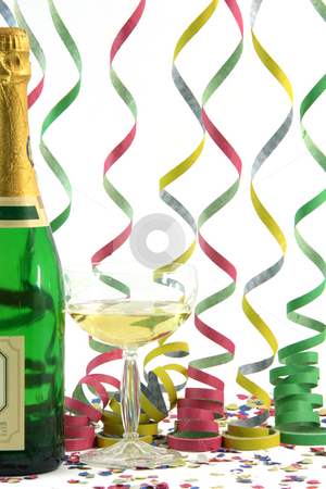 Celebration champagne stock photo, Champagne streamers confetti celebration and holidays concepts by EVANGELOS THOMAIDIS