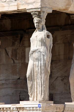Caryatid alone stock photo, One caryatid at temple of Erechtheum on acropolis of Athens Greece by EVANGELOS THOMAIDIS