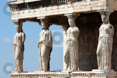 Erechteum caryatids stock photo, Caryatids at Erechtheum of Parthenon in Athens Greece by EVANGELOS THOMAIDIS