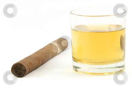 Cigar and whiskey stock photo, Cigar and  whiskey glass isolated on white background by EVANGELOS THOMAIDIS